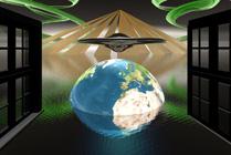 Computadora alien y sat�lite artificial